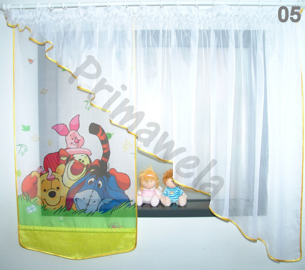 kinderzimmer winnie pooh wanddekoration disney winnie pooh gardine kindergardine kinderzimmer. Black Bedroom Furniture Sets. Home Design Ideas